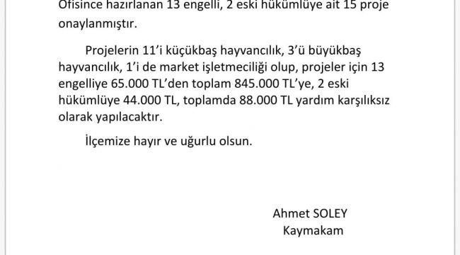 İŞKUR'dan kendi işini kurmak isteyen Karacasulu vatandaşlara 933 bin TL hibe